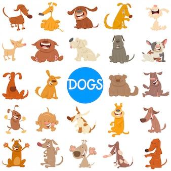 Ilustracja kreskówka duży zestaw psów i szczeniąt