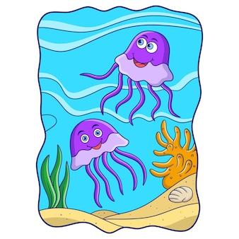 Ilustracja kreskówka dwie meduzy pływające w pobliżu rafy koralowej oceanu