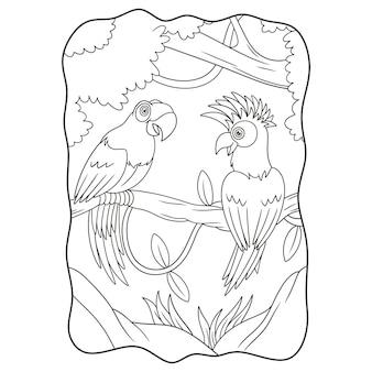Ilustracja kreskówka dwie papugi na książce lub stronie pnia drzewa dla dzieci czarno-białe