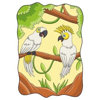 Ilustracja kreskówka dwie papugi na pniu drzewa