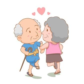 Ilustracja kreskówka dziadków tańczących razem z miłością narodowy dzień babci i dziadka