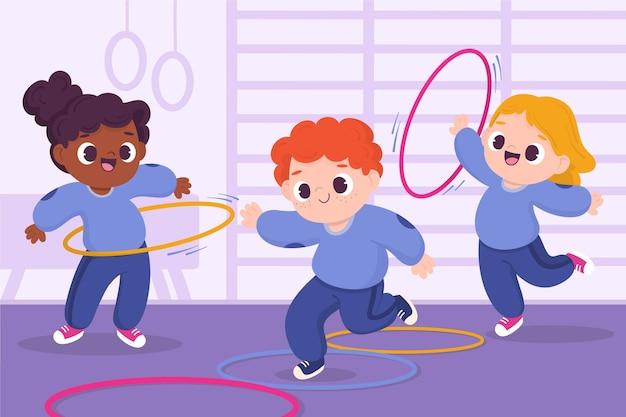 Ilustracja kreskówka dzieci w klasie wychowania fizycznego