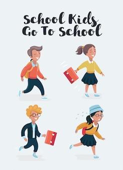 Ilustracja kreskówka dzieci w wieku szkolnym