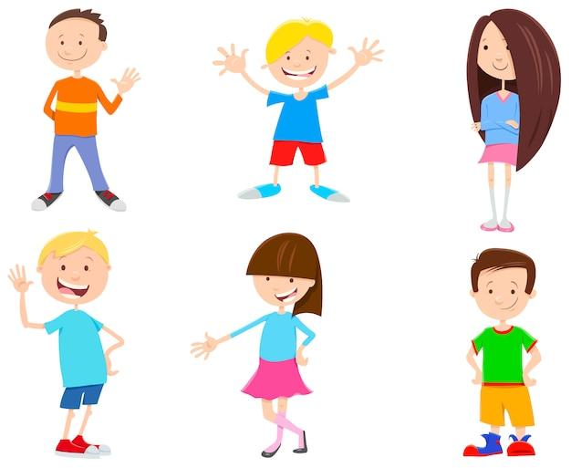 Ilustracja kreskówka dzieci zestaw znaków