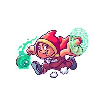 Ilustracja kreskówka dzieciak czarodzieja