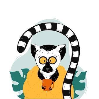 Ilustracja kreskówka dziecko lemur