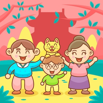 Ilustracja kreskówka dzień koreańskich rodziców