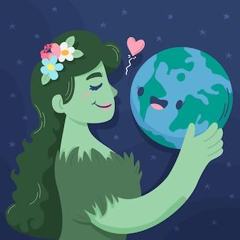 Ilustracja kreskówka dzień matki ziemi