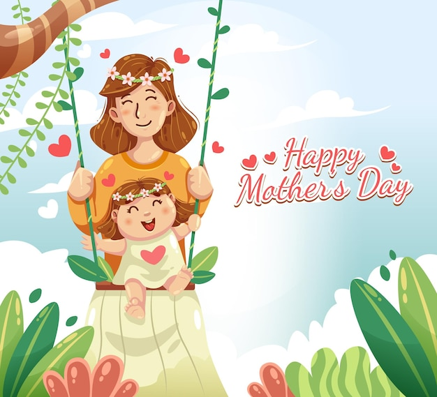 Ilustracja kreskówka dzień matki