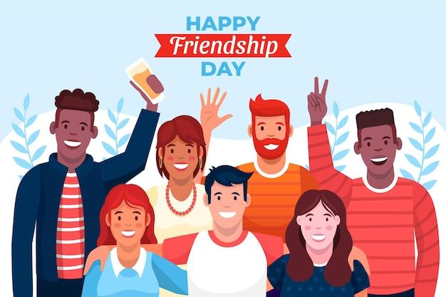 Ilustracja kreskówka dzień międzynarodowej przyjaźni