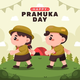 Ilustracja kreskówka dzień pramuka