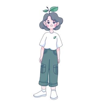 Ilustracja kreskówka dziewczyna eco