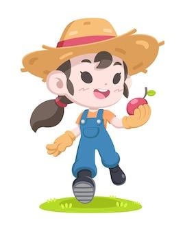 Ilustracja kreskówka dziewczyna rolnik ładny styl