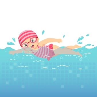 Ilustracja kreskówka dziewczynki w różowym stroju kąpielowym pływanie w basenie.