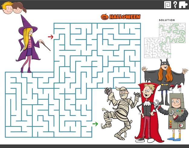 Ilustracja kreskówka edukacyjnej gry puzzle labirynt z dziećmi w czasie halloween