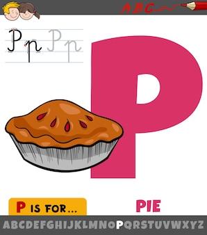 Ilustracja kreskówka edukacyjnych litery p z alfabetu z ciasta