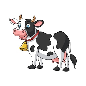 Ilustracja kreskówka fajna krowa