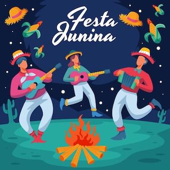Ilustracja kreskówka festa junina