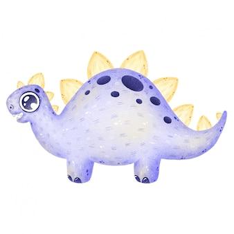 Ilustracja kreskówka fioletowy dinozaur stegozaur