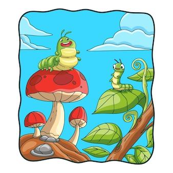 Ilustracja kreskówka gąsienica na grzybach i liściach
