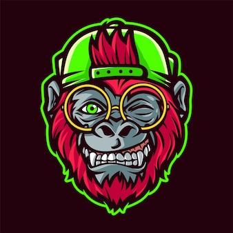 Ilustracja kreskówka głowa funky małpy