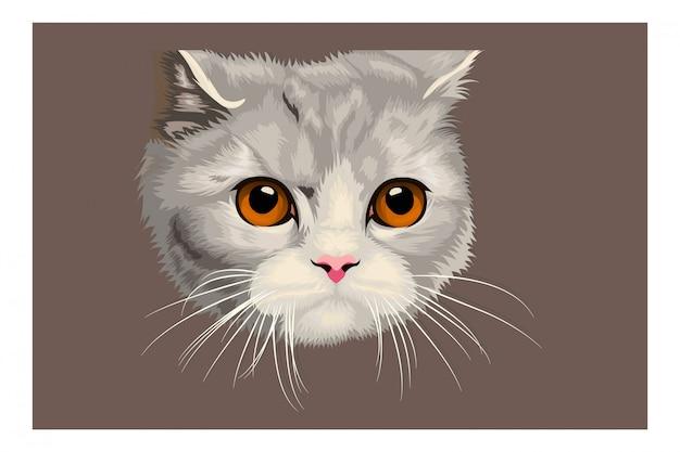 Ilustracja kreskówka głowa kota ręcznie rysunek