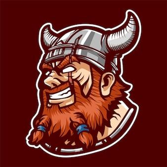 Ilustracja kreskówka głowa wikinga maskotka