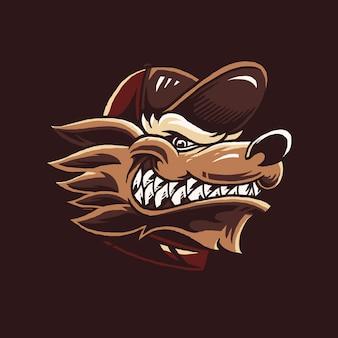 Ilustracja kreskówka głowa wilka