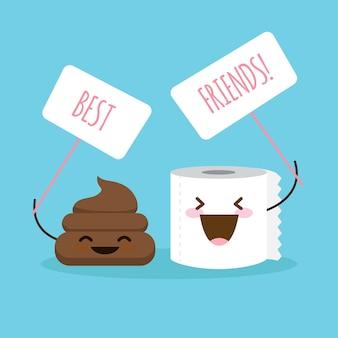 """Ilustracja kreskówka gówno i papier toaletowy z tabliczką """"najlepsi przyjaciele"""""""