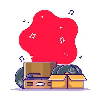 Ilustracja kreskówka gramofon i płyta winylowa