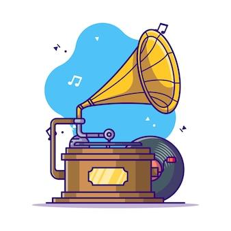 Ilustracja kreskówka gramofon i winylu
