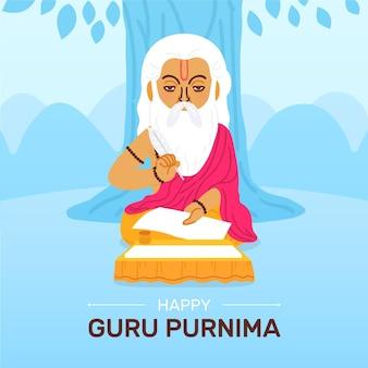 Ilustracja kreskówka guru purnima