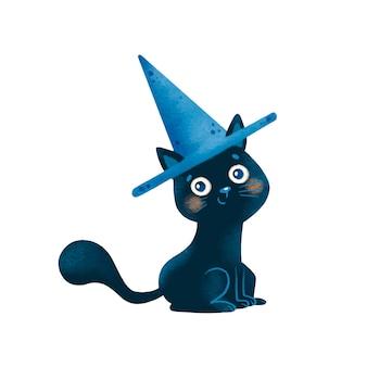 Ilustracja kreskówka halloween czarny kot ubrany w kapelusz czarownicy na białym tle