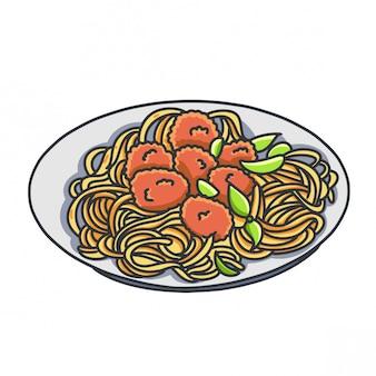 Ilustracja kreskówka handran smażony makaron