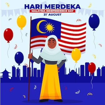Ilustracja kreskówka hari merdeka