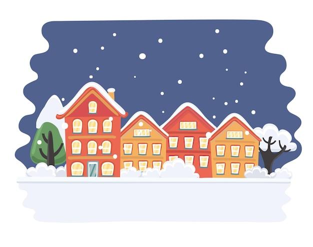 Ilustracja Kreskówka Ilustracja Miasta Bożego Narodzenia Premium Wektorów