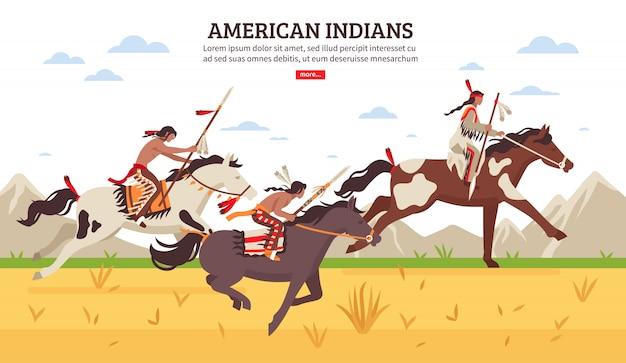 Ilustracja kreskówka indian amerykańskich