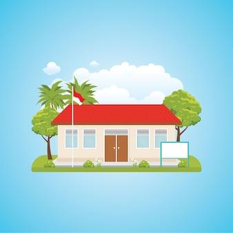 Ilustracja kreskówka indonezyjski budynek szkoły