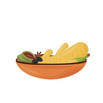 Ilustracja kreskówka indyjski napój przyprawy. dodatki do herbaty w ceramicznym przedmiocie kolorowym. tradycyjne aromaty napojów i składniki aromatyczne na białym tle