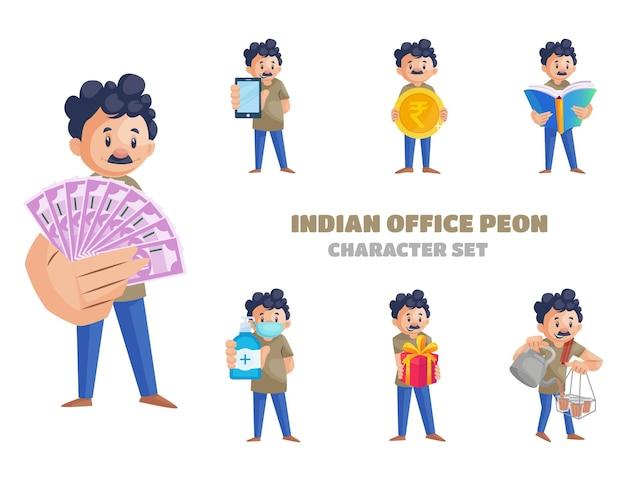 Ilustracja kreskówka indyjskiego zestawu znaków biurowych peon