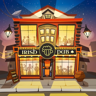 Ilustracja kreskówka irlandzki pub