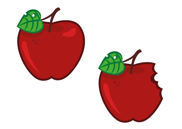 Ilustracja kreskówka jabłko pełna i ugryziona
