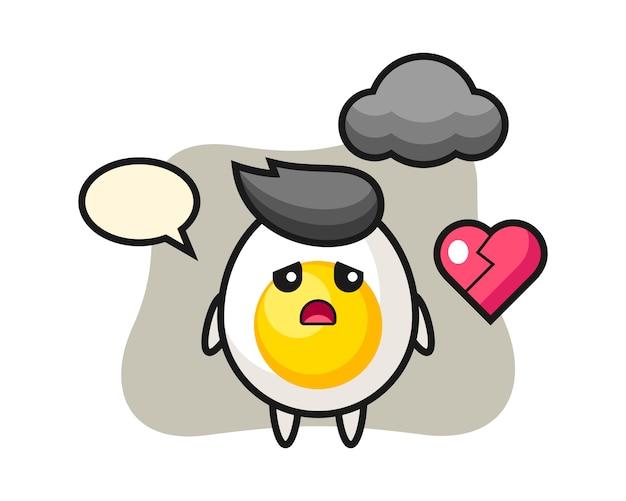 Ilustracja kreskówka jajko na twardo to złamane serce