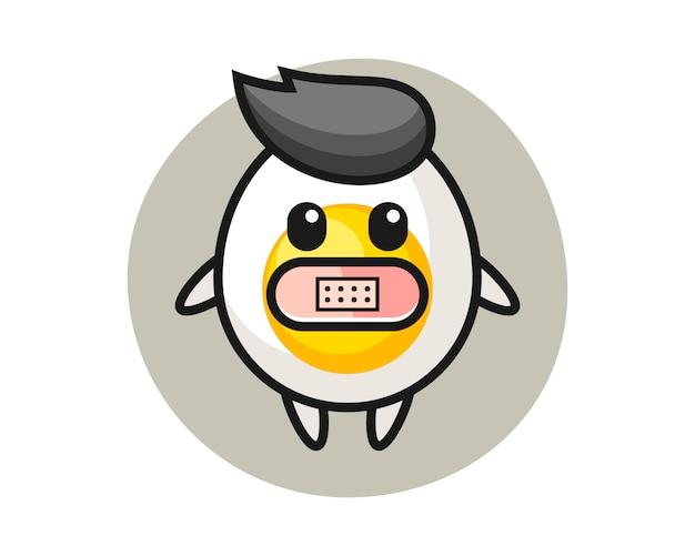 Ilustracja kreskówka jajko na twardo z taśmą na ustach