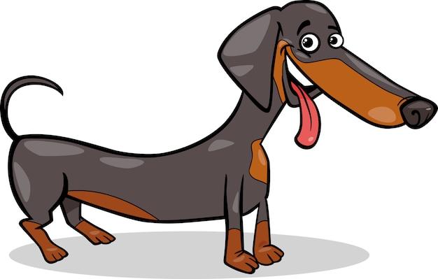 Ilustracja kreskówka jamnik pies