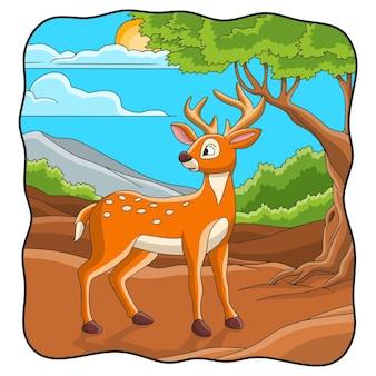 Ilustracja kreskówka jeleń chodzący pod drzewem leśnym