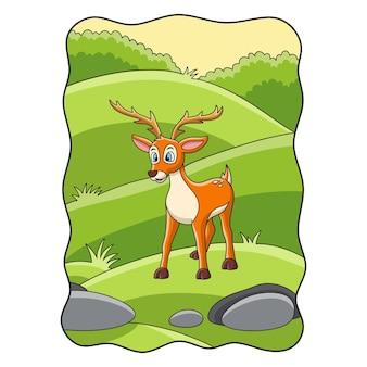 Ilustracja kreskówka jeleń szuka jedzenia na łące w środku lasu