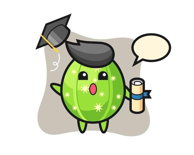 Ilustracja kreskówka kaktus rzucający kapelusz na ukończeniu szkoły