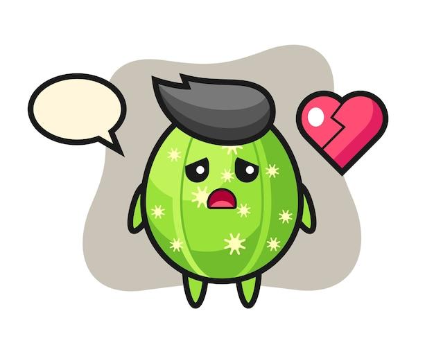 Ilustracja kreskówka kaktusa to złamane serce