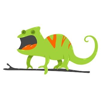 Ilustracja kreskówka kameleon na białym tle.